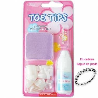 Kit Faux ongles Pieds French naturel (x40) avec colle