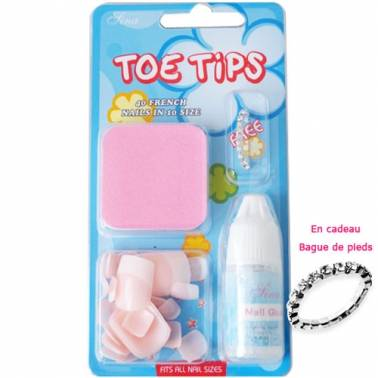Kit Faux ongles Pieds French Rose (x40) avec colle
