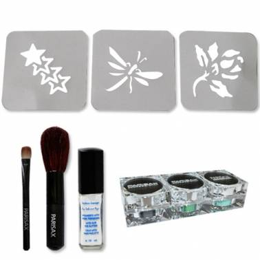 Kit Tattoos paillettes Parisax, pochoirs et colle
