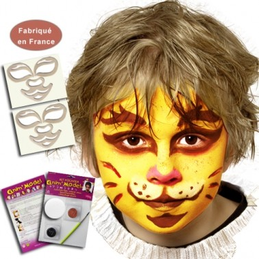Kit pochoirs maquillage enfant, motif Tigre