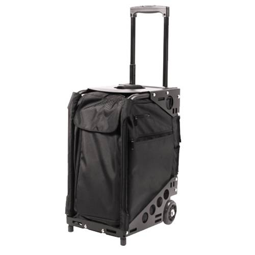 valise trolley tabouret coiffure multipoches tissu noire. Black Bedroom Furniture Sets. Home Design Ideas