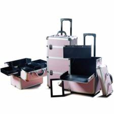 Valise trolley make-up, alu rose strass blancs