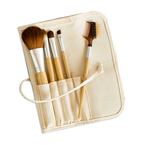 Kit 5 pinceaux maquillage Bambou, �tui naturel