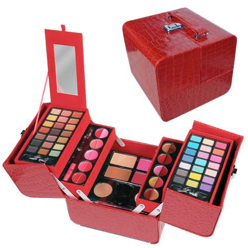 Mallette de maquillage Glamour Croco rouge