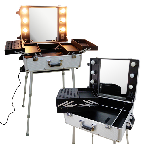 valise studio maquillage professionnel trolley quip d 39 un grand miroir d 39 ampoules et de. Black Bedroom Furniture Sets. Home Design Ideas