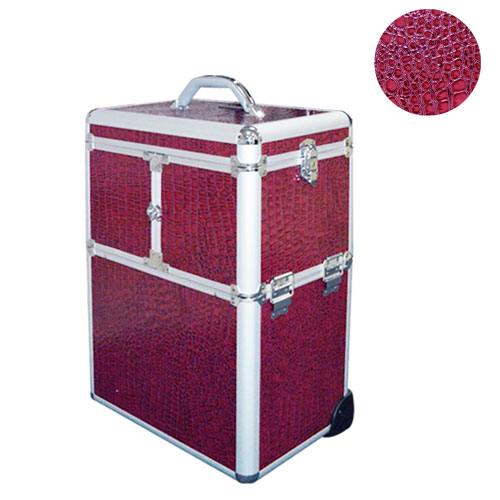 Valise Trolley Maquillage et manucure Croco POURPRE
