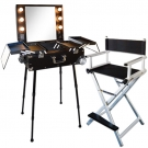 Ensemble Studio Make-up Noir et Alu, Table ALESIA et chaise maquilleur