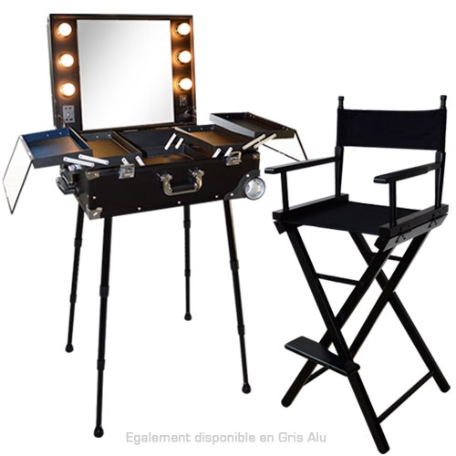 Ensemble studio make up noir table et chaise de maquillage - Ensemble table haute et chaise ...