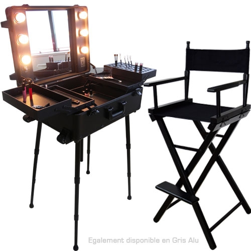 ensemble studio make up noir table et chaise maquilleur. Black Bedroom Furniture Sets. Home Design Ideas