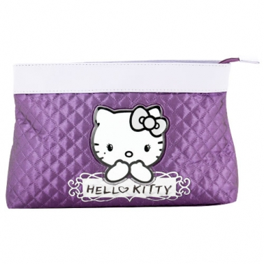 Grande trousse Hello Kitty moletonnée, couleur prune