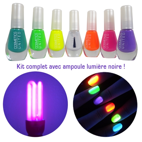 kit de 7 vernis neon fluo et son ampoule uv. Black Bedroom Furniture Sets. Home Design Ideas