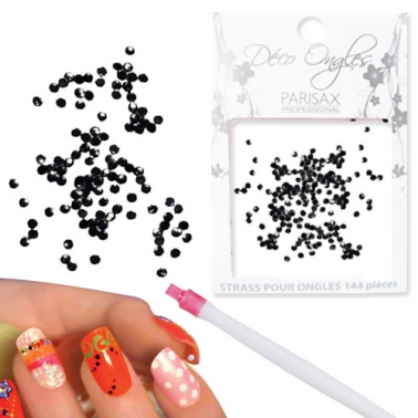 Décoration ongles Strass noirs