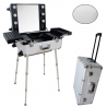 Valise studio make up trolley, Table de maquillage Ampoules, Grise