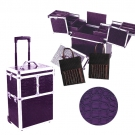 Valise Trolley Maquillage et manucure Croco Prune