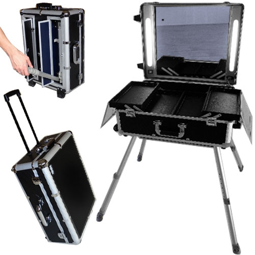 valise studio maquillage professionnel trolley quip d 39 un grand miroir de lumi res et de. Black Bedroom Furniture Sets. Home Design Ideas