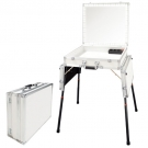Valise studio Make-up Blanche, Miroir éclairage Led