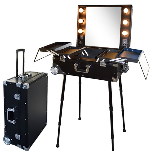 valise studio make up trolley table de maquillage ampoules noire et aluminium. Black Bedroom Furniture Sets. Home Design Ideas