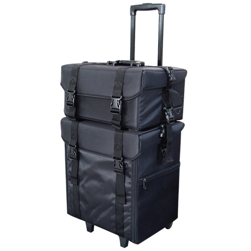 valise trolley maquilleur professionnel multi rangement tissu noir matelass. Black Bedroom Furniture Sets. Home Design Ideas