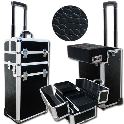 valise trolley coiffure et esth tique croco noir m tiers. Black Bedroom Furniture Sets. Home Design Ideas