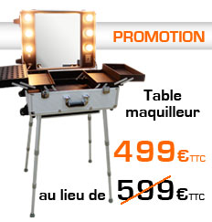 Promotion table maquillage grise alu